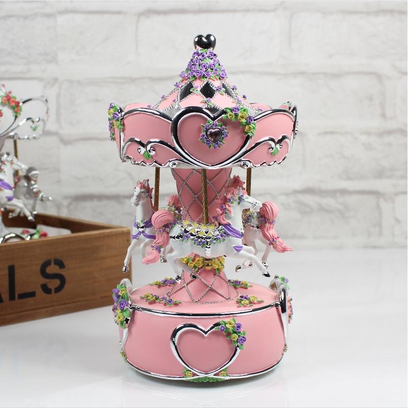 亮灯双机芯旋转木马音乐盒八音盒创意情人节生日礼物女生送闺蜜