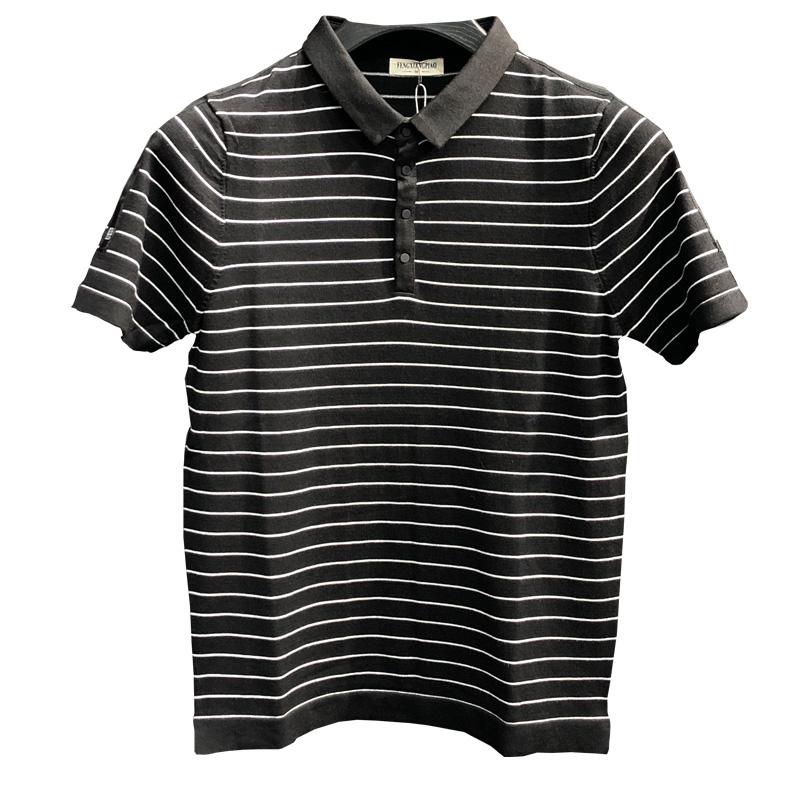 秋冬新款男士半袖 针织衫韩版个姓条纹拼色青年大码短袖毛衣潮  Polo