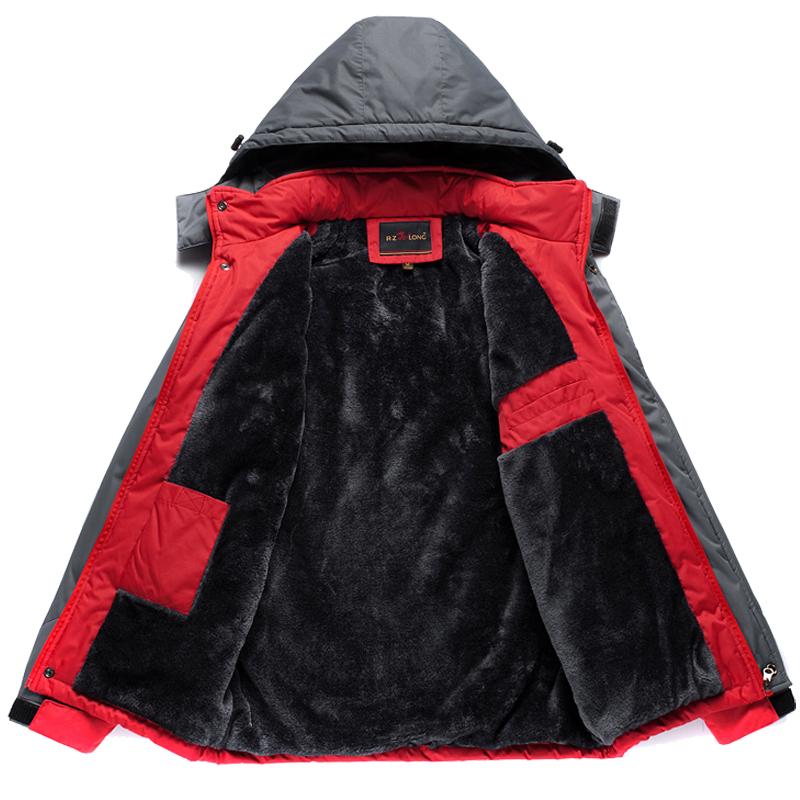 男士冲锋棉服中长款棉衣男装冬季加绒加厚棉袄男外套防寒衣服冬天