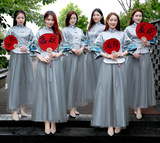 Bride Personality Reception Group Fan Chinese Style Marriage Groomsmen Bridesmaid Group Welcome Props Wedding Photo Fan Customization