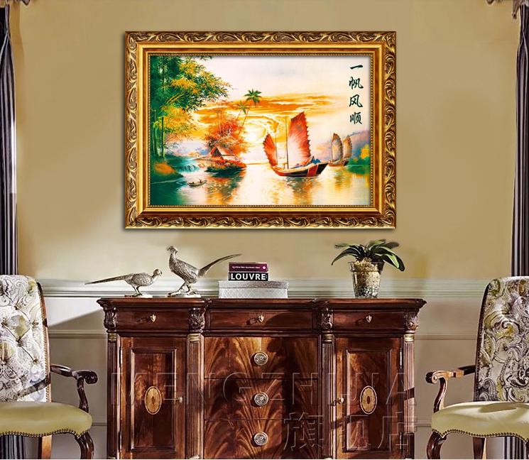 黃金大道掛畫一帆風順風景風水畫歐式客廳裝飾畫地中海壁畫仿油畫