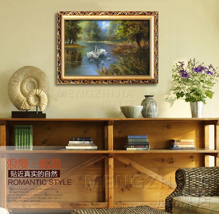 歐式有框畫掛畫噴繪油畫風景天鵝湖客廳臥室壁爐裝飾畫走廊墻壁畫