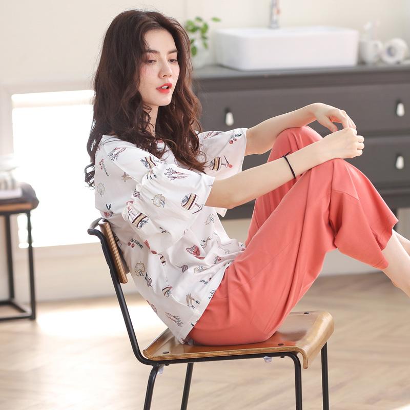 睡衣女夏季薄款纯棉短袖七分裤韩版可爱学生两件套装春秋天家居服【图2】