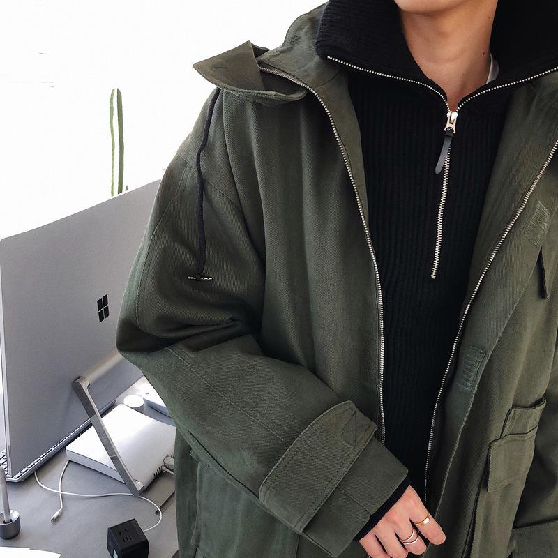 連帽帆布外套男 oversize 自制韓版軍綠色工裝中長款風衣男 BANGBOY