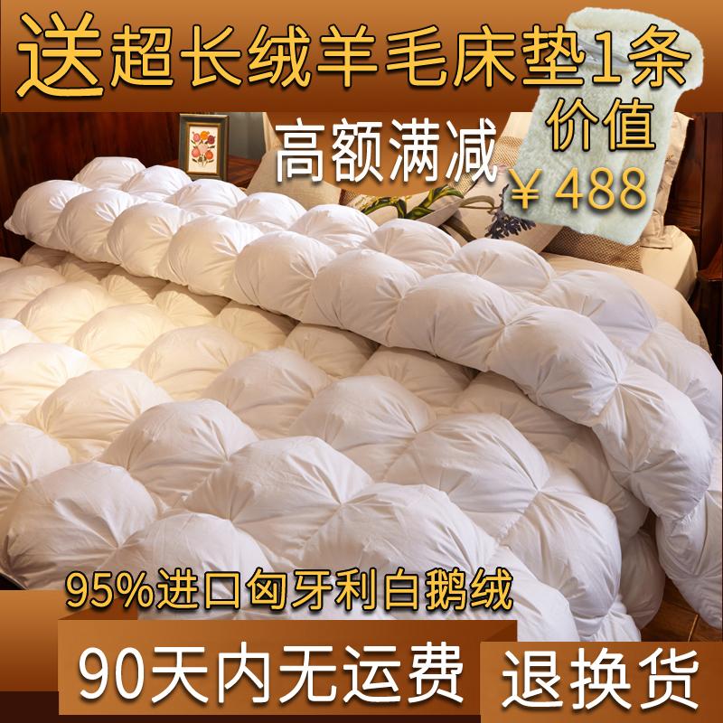 進口羽絨被95白鵝絨被加厚冬被子 雙人羽絨被芯全棉雙層保暖單人