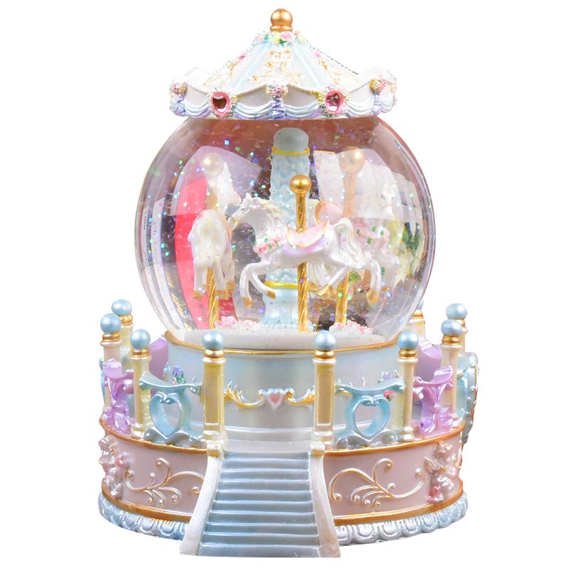 旋转木马水晶球音乐盒八音盒女孩子生日礼物女生儿童公主天空之城