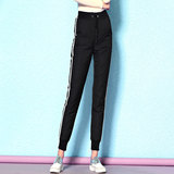 Nordic style plus thick velvet warm winter outer wear down pants female waist was thin wild striped slacks side