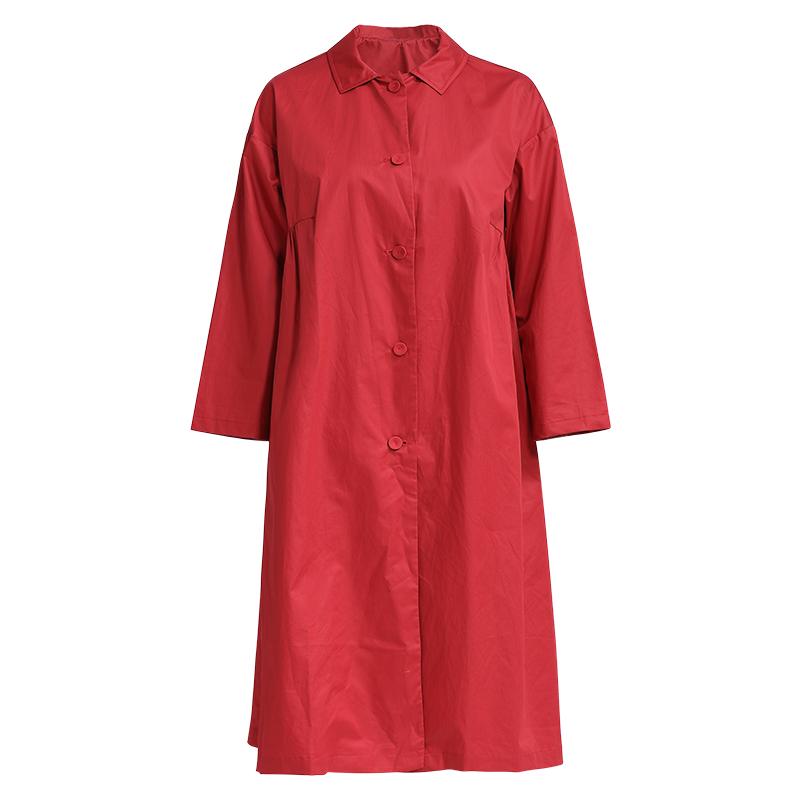 秋季新款简约宽松落肩袖中长款英伦长袖纯棉风衣外套外衣女 2018