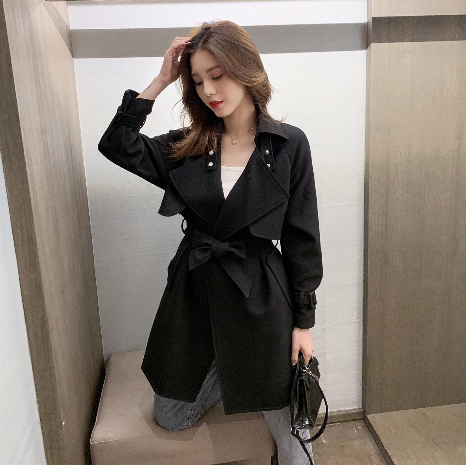 秋裝新款韓版中長款西裝領系帶風衣女御姐寬松外套輕熟風上衣 2019