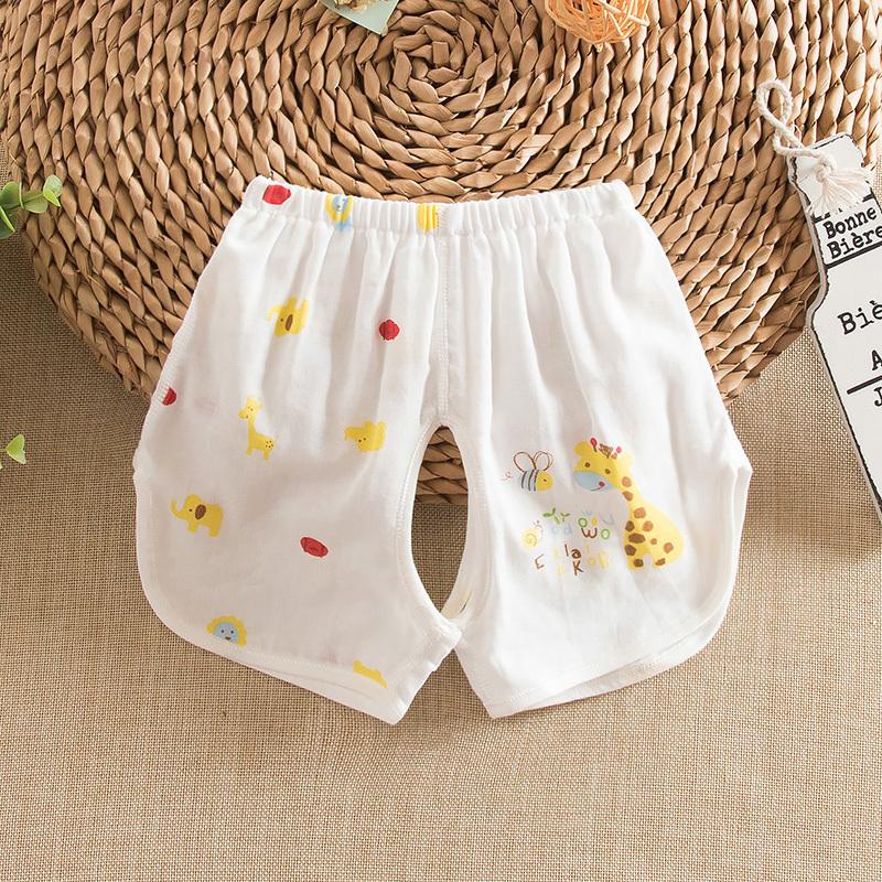 夏季嬰兒純棉紗布開檔短褲夏天寶寶紗布短褲幼兒紗布褲子短褲衣服