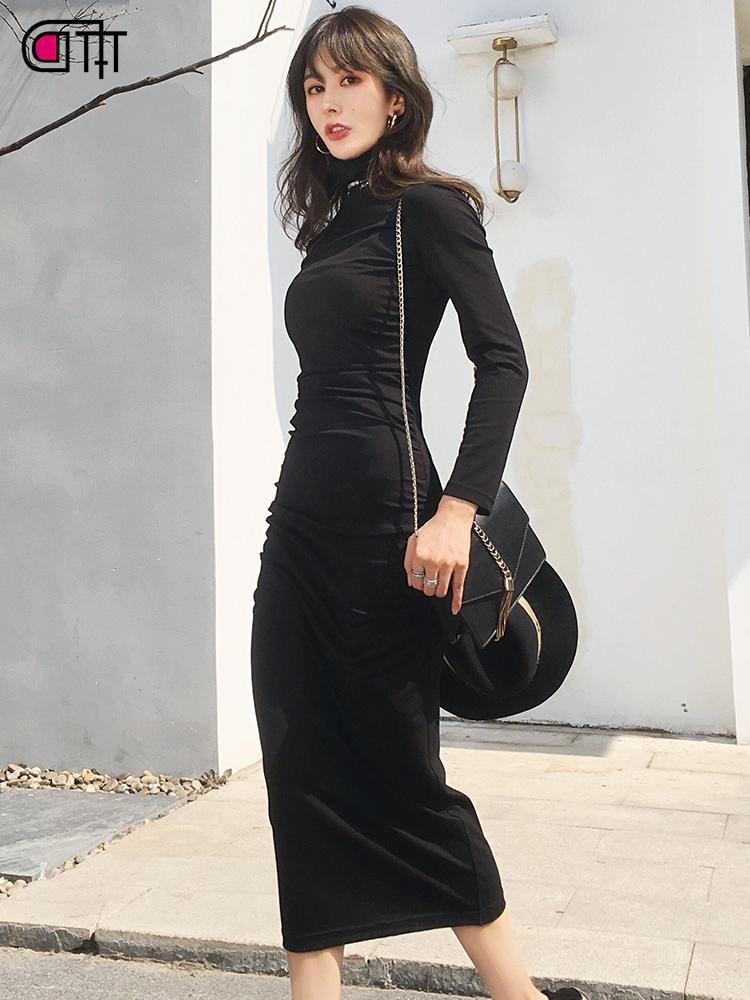 过膝很仙长裙2018秋冬复古女装紧身女人味法国小众气质性感连衣裙
