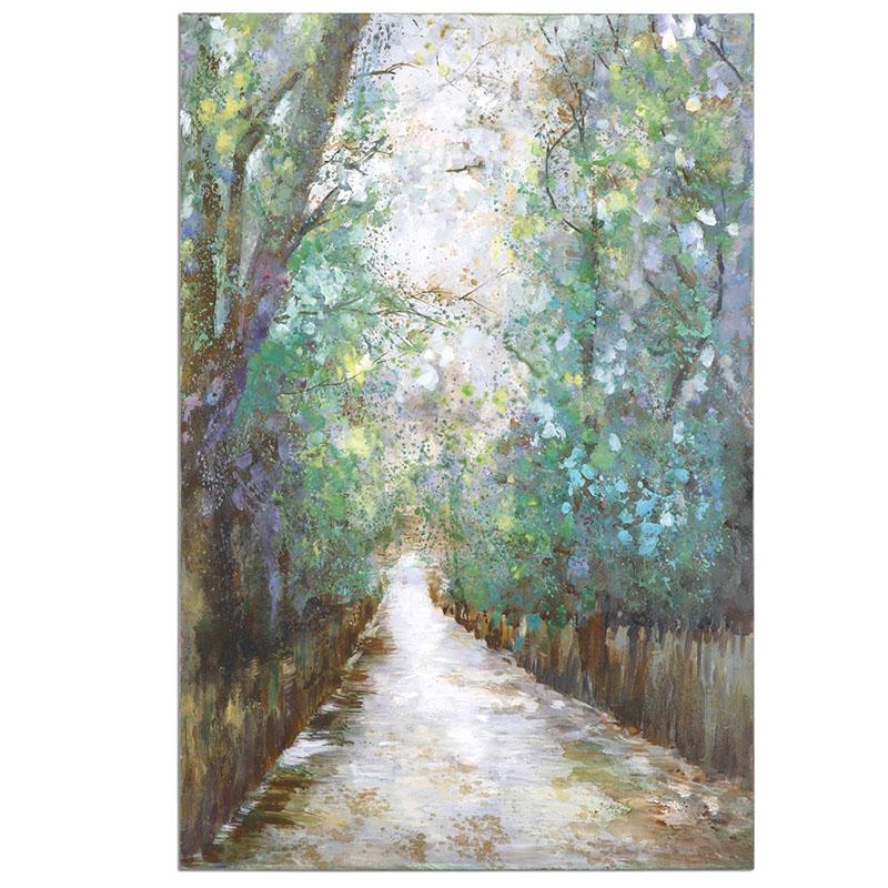 纯手绘风景画油画包邮美式客厅墙上装饰画林荫小道挂画