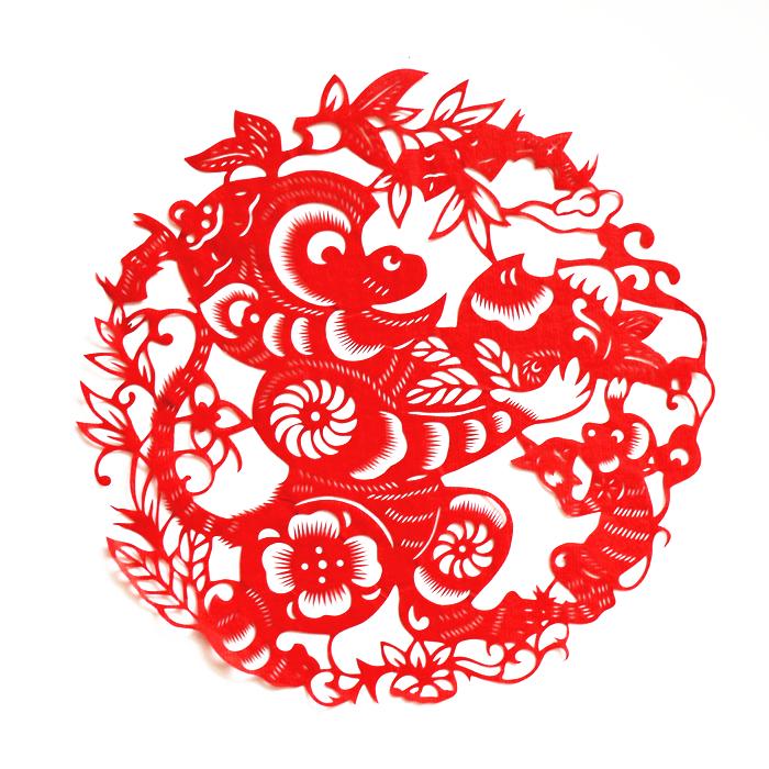 2019猪年蔚县手工剪纸窗花十二生肖中国风特色出国礼品送老外
