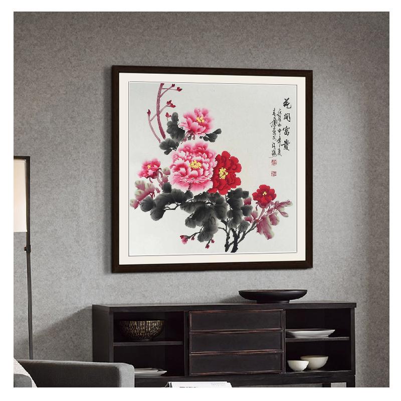 国画牡丹画手绘挂画中式客厅中堂卧室装饰画花鸟卷轴字画花开富贵