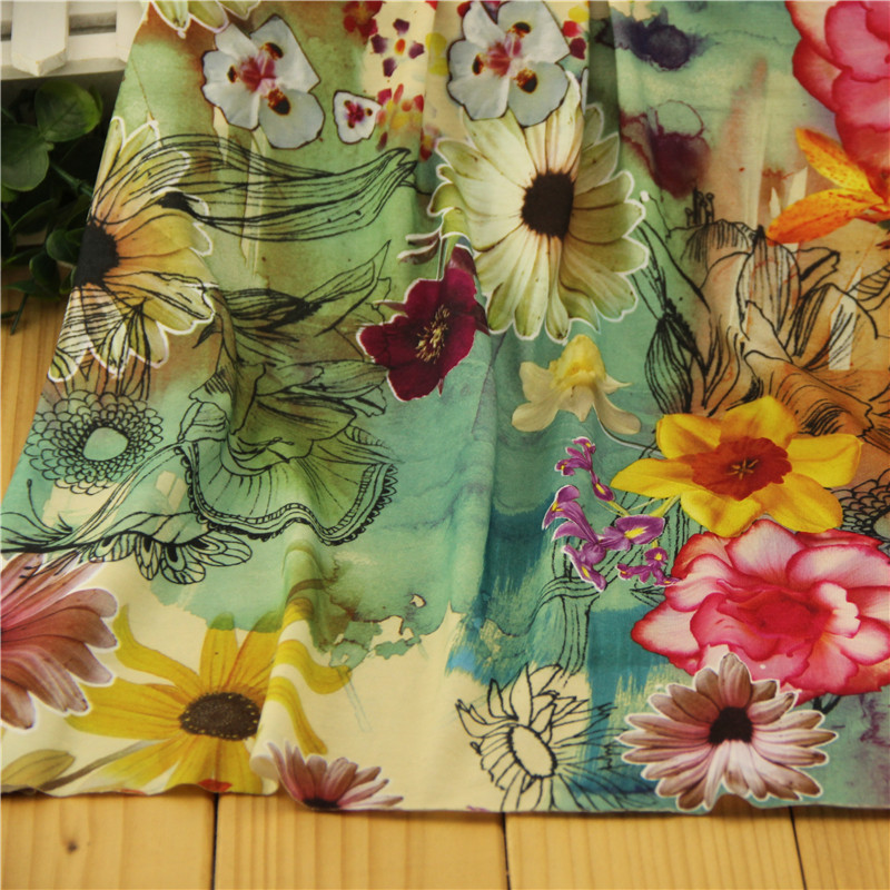 高端针织花布 新款经典运动休闲印花短袖T恤连衣裙布料 彩色花朵