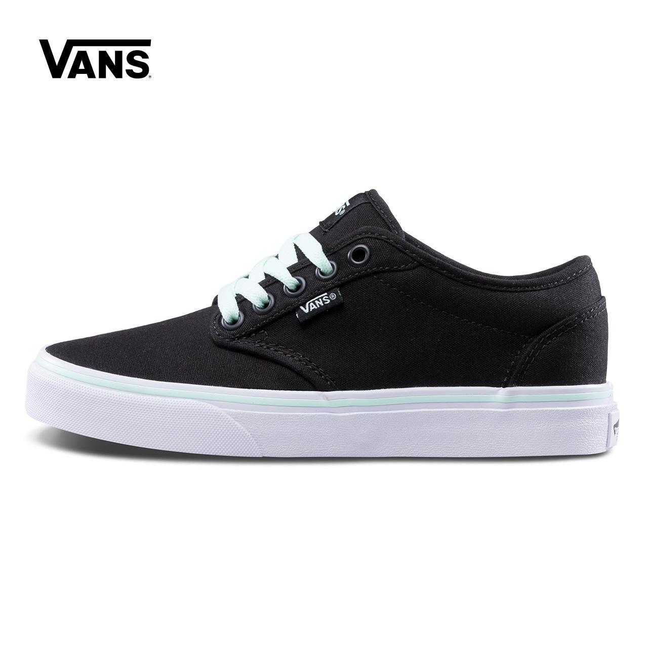 Vans範斯官方正品 黑色低幫女士運動帆布鞋