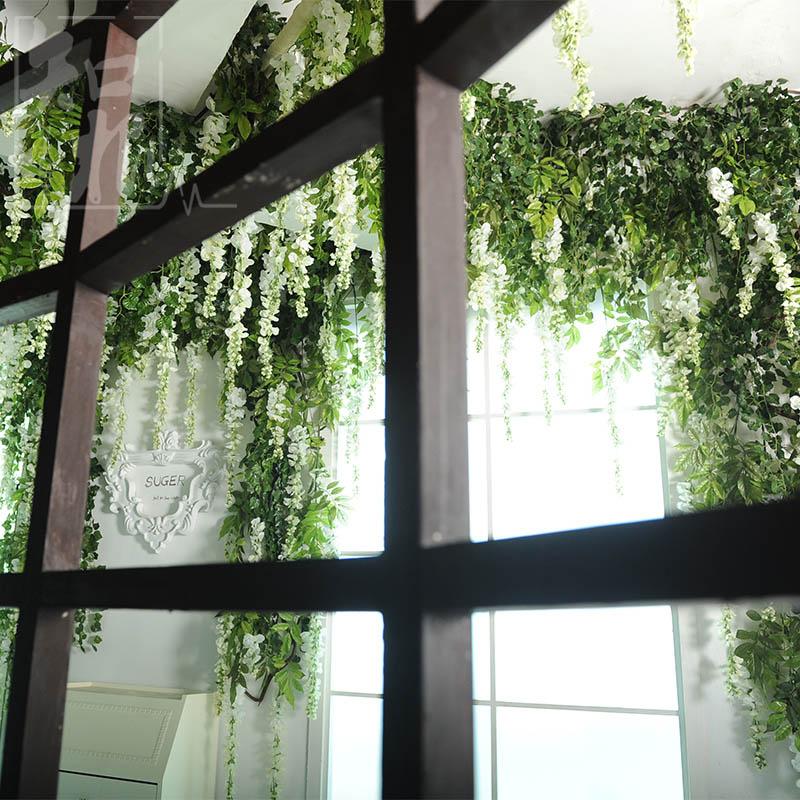 仿真花紫藤壁挂婚庆花卉 假花绢花绿植藤条藤蔓 管道吊顶装饰花藤