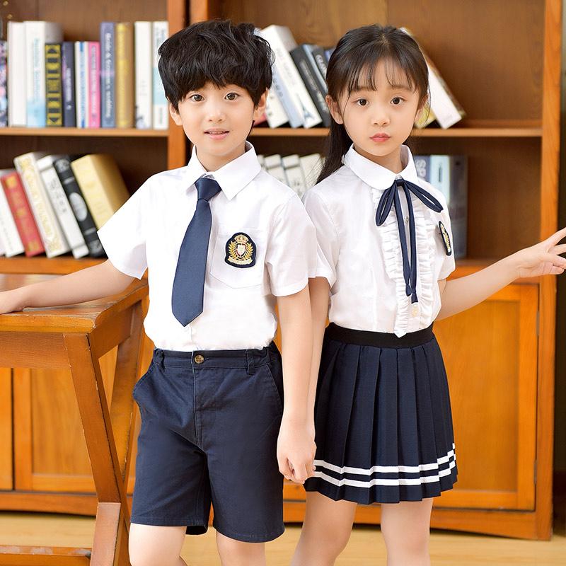 夏季校服儿童套装英伦风男女童装短袖衬衫中小学生班服幼儿园园服