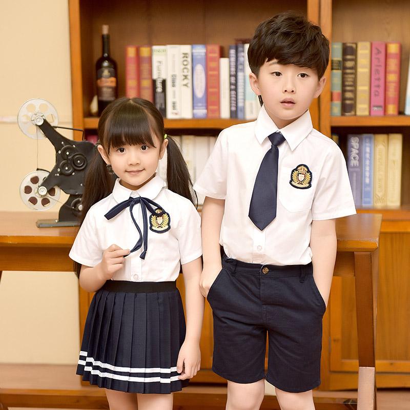 幼儿园园服男女童装儿童夏季白色衬衫班服英伦学院风中小学生校服