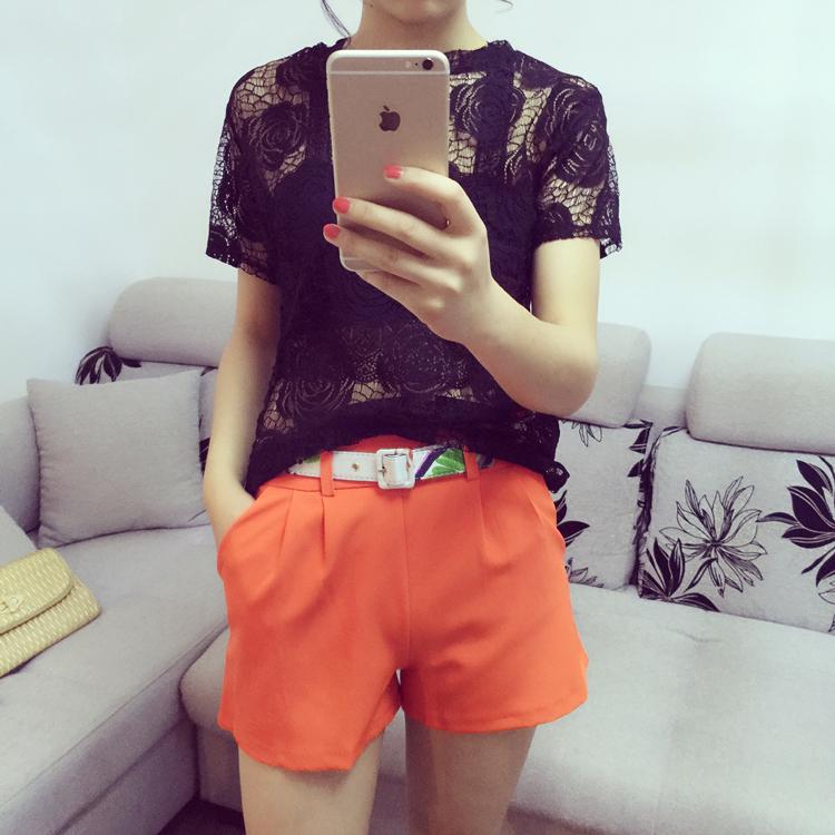 2016夏季新款韩版大码女装蕾丝上衣镂空时尚性感透视短袖T恤女潮