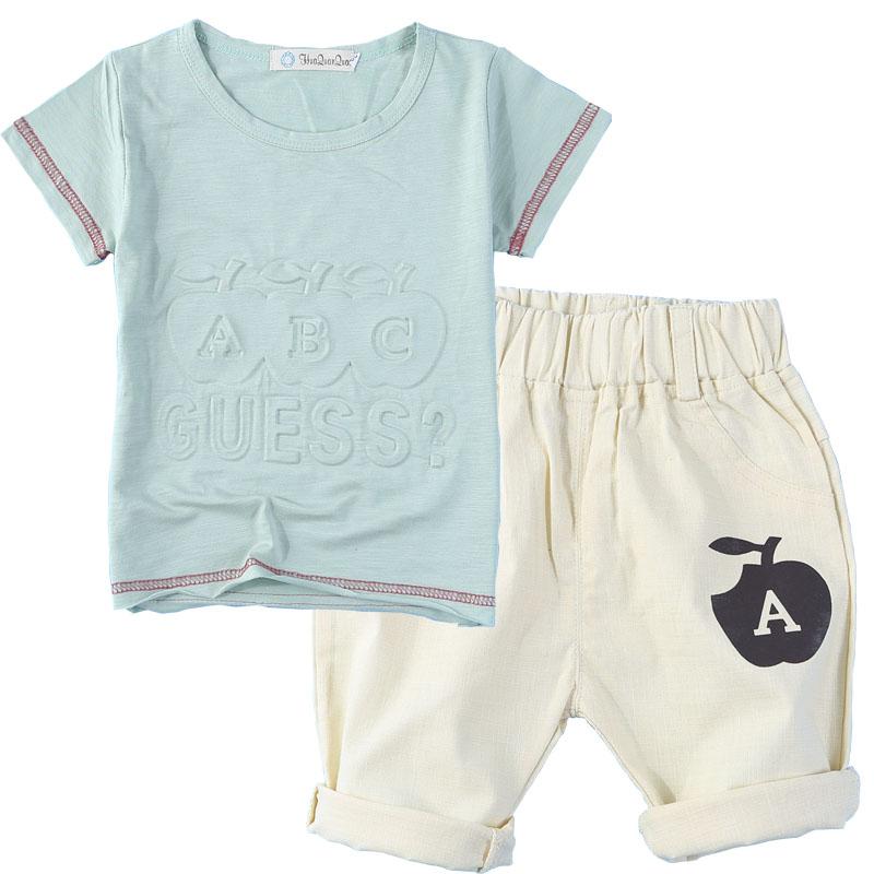男童女童套装女童夏装卡通中性短袖T恤七分裤两件套M
