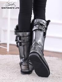 牧羊人生雪地靴女时尚新款羊皮毛一体冬季高筒靴保暖防滑鞋子