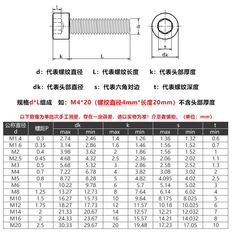 【M3 M4 M5】12.9级高强度内六角螺丝钉圆柱头螺栓杯头螺钉标准件