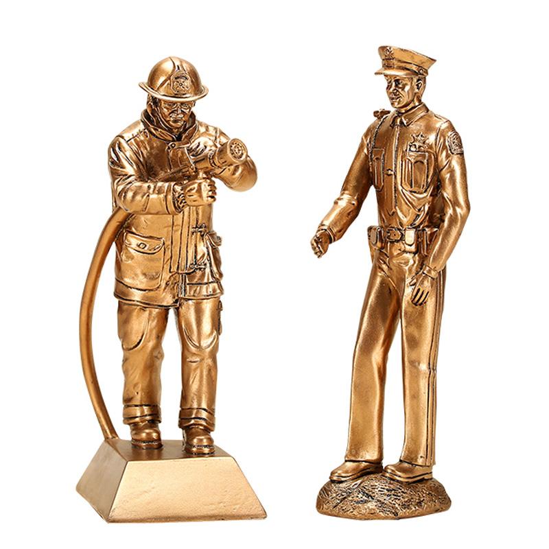 家居复古战友退伍军人消防员纪念摆件礼品刻字退役留念部队退伍