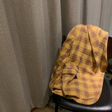 Halogen halogen lulu plaid suit jacket female Korean retro big yards Hong Kong flavor blouse suit Yellow Spring