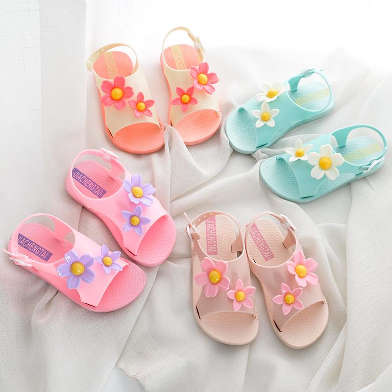 香蕉童鞋果冻鞋新款夏女童镂空公主菊花儿童凉鞋沙滩洞洞童鞋软底