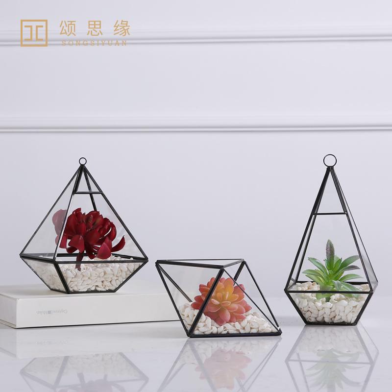 現代簡約美式北歐創意幾何玻璃花房罩家居電視櫃裝飾品酒櫃擺件