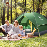 Camel outdoor tent 3-4 person family camping rainproof double speed open camping tent thick double hydraulic