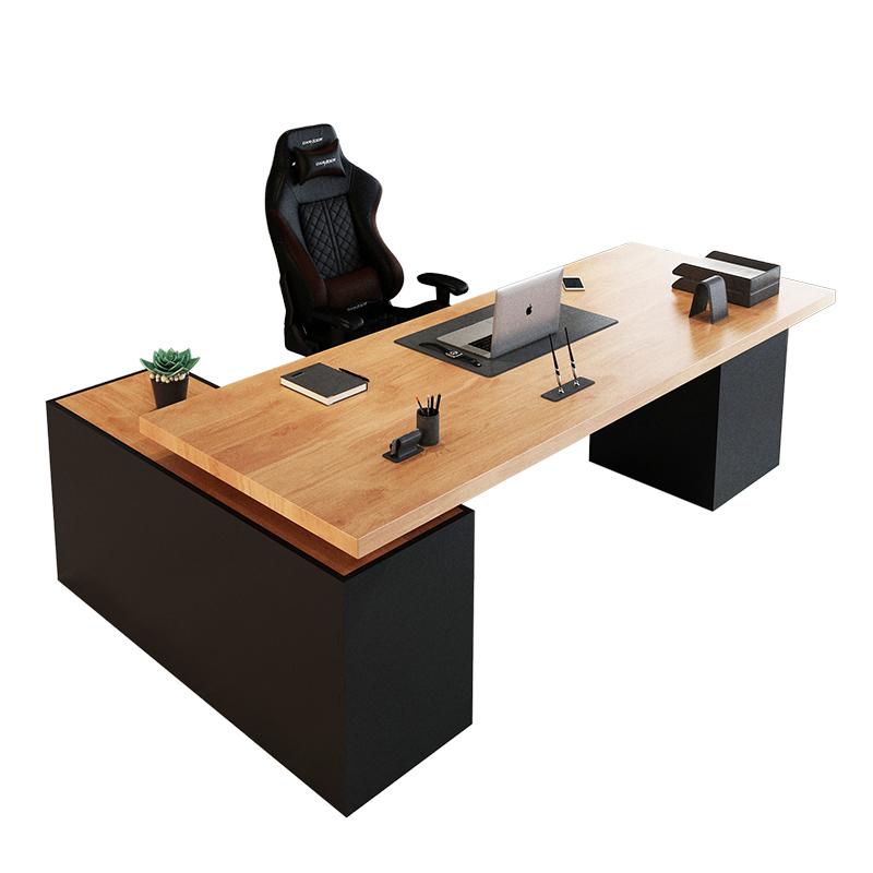 實木老板桌簡約現代辦公家具總經理辦公桌辦公室工業風電腦桌 LOFT