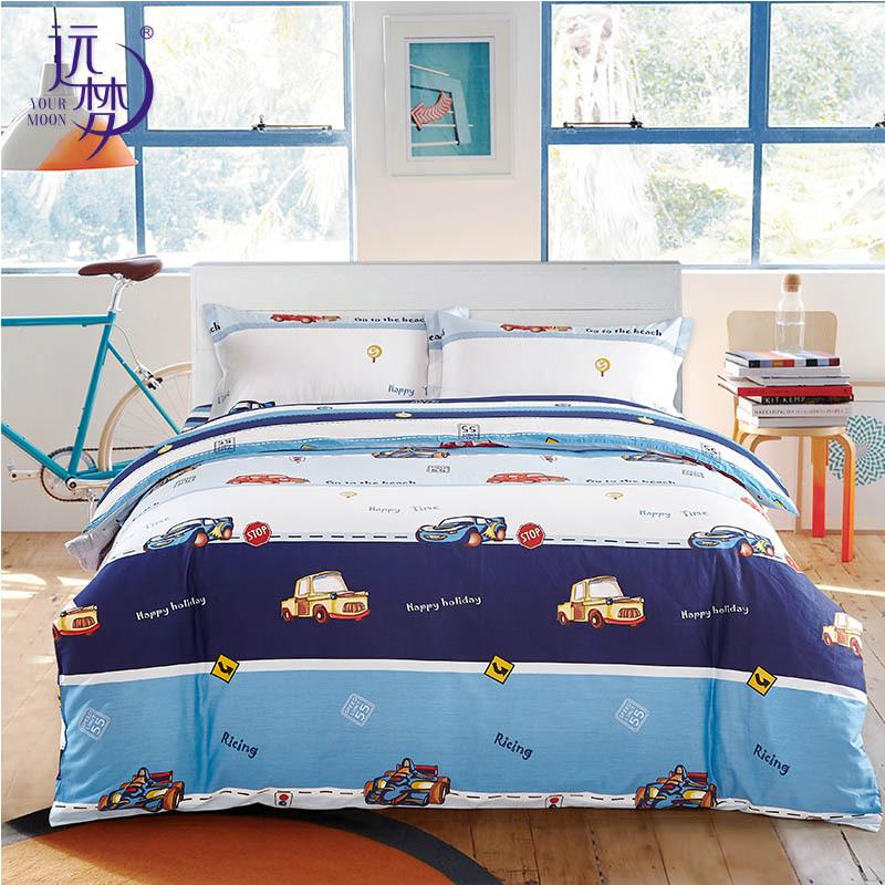 远梦家纺儿童卡通套件赛车王子纯棉床笠款四件套婴童学生三件套