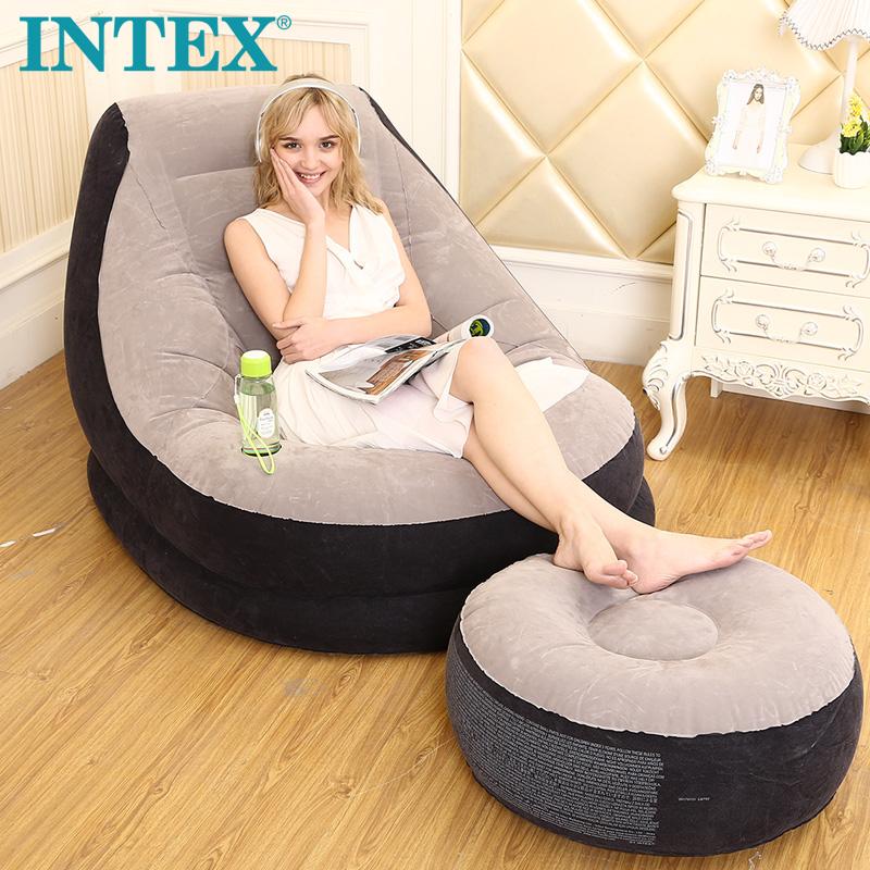 INTEX懶人沙發 摺疊床懶人椅單人沙發床電腦椅飄窗椅豆袋充氣沙發