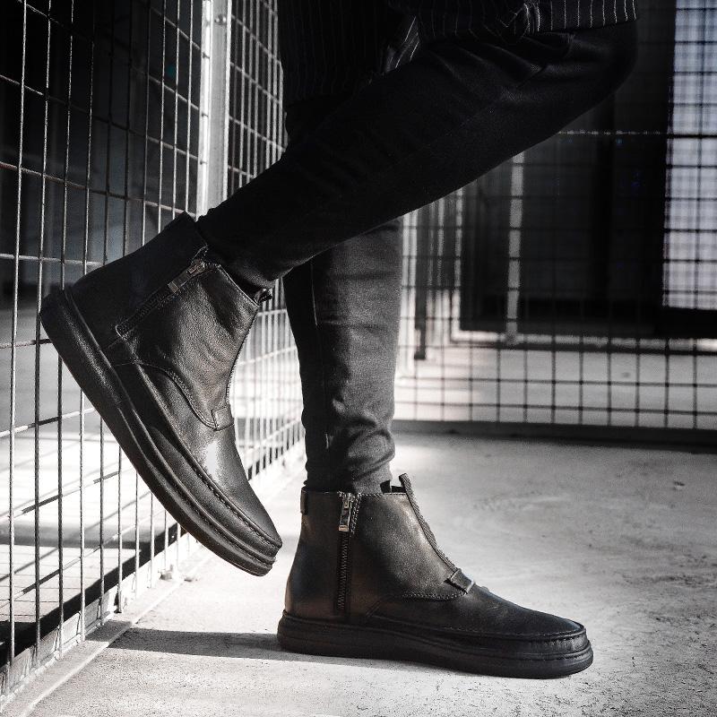 2019新款高帮鞋男韩版潮流高邦皮鞋欧洲站百搭休闲鞋子加绒马丁靴