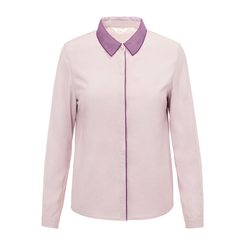 [3件6.75折]2018秋装新女修身显瘦衬衣女百搭方领长袖衬衫女上衣