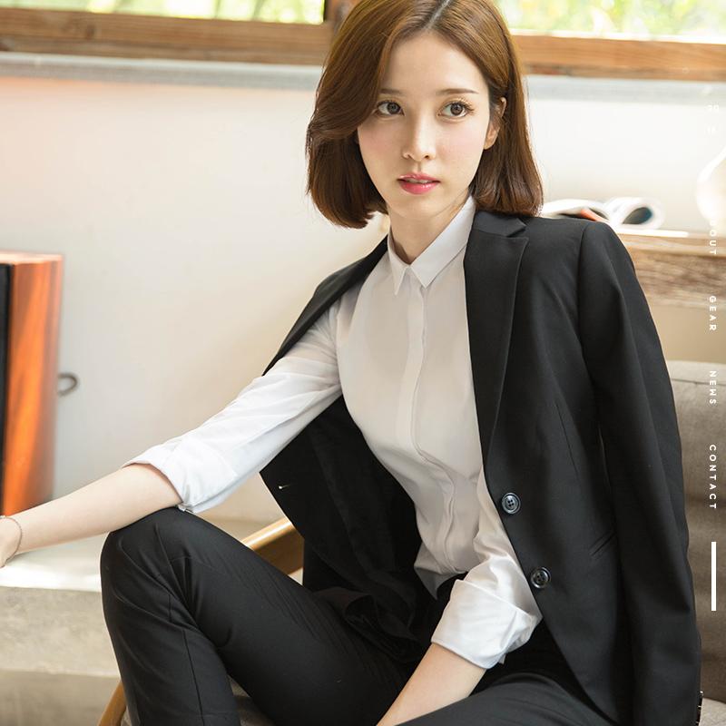 黑色西裤九分裤职业女裤2019春装新款韩版修身斜纹直筒正装西装裤