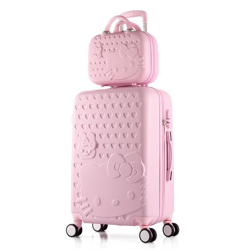 卡通kitty猫子母箱女学生拉杆箱万向轮可爱旅行箱行李箱24寸26韩