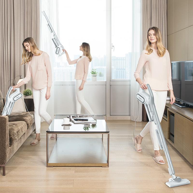 德尔玛吸尘器家用手持式静音迷你小型低耗材强力大功率地毯除螨虫