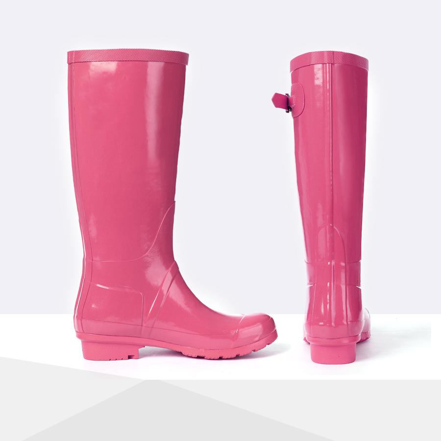 好雨时节秋季款糖果色水晶高筒女式雨鞋女士雨靴帅气机车马靴