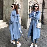 Windbreaker women's mid-length Korean version 2019 new spring and autumn over the knee popular windbreaker jacket students loose casual tide