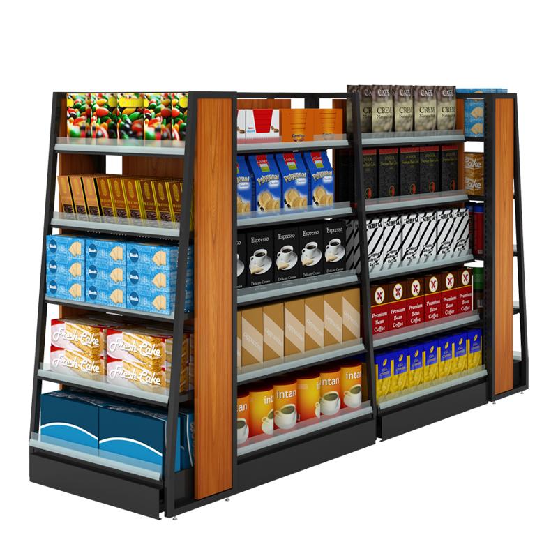 业神制造超市货架展示架  便利店进口食品架双面母婴店钢木柜批发