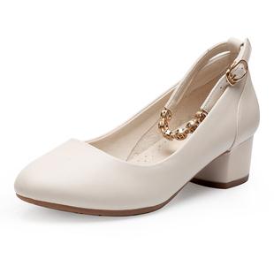 软皮粗跟中跟一字扣真皮浅口单鞋圆头女鞋夏季2020新款女式小皮鞋