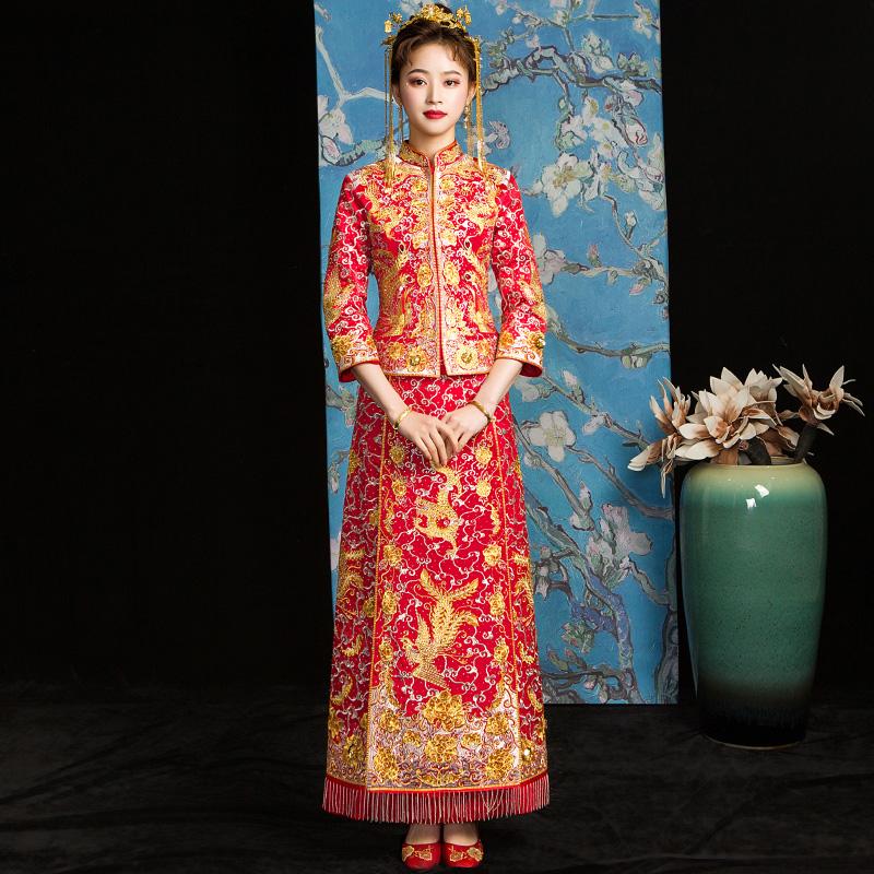 秀禾服新娘2019新款秋季龙凤褂中式婚纱结婚礼服古装嫁衣敬酒旗袍