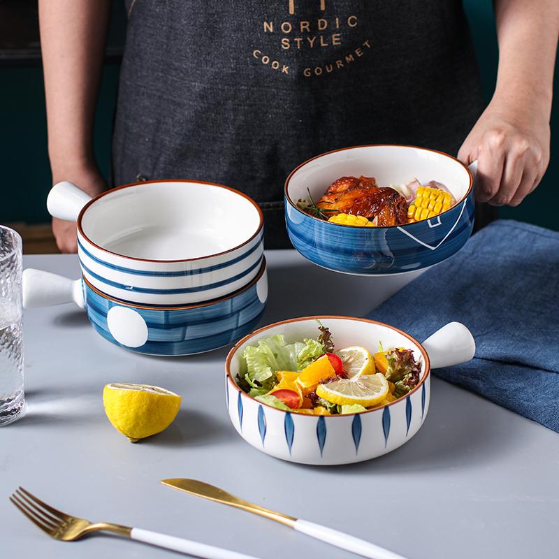 烤碗烘焙家用手柄碗烤箱用大号烤箱碗面碗汤碗陶瓷带手把学生饭碗主图