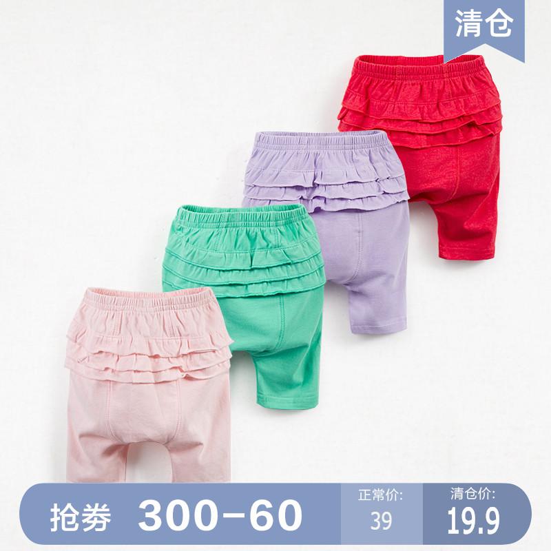 木本尚夏嬰兒褲4-8個月女寶寶大屁屁PP褲打底女童哈倫褲子1-2歲潮