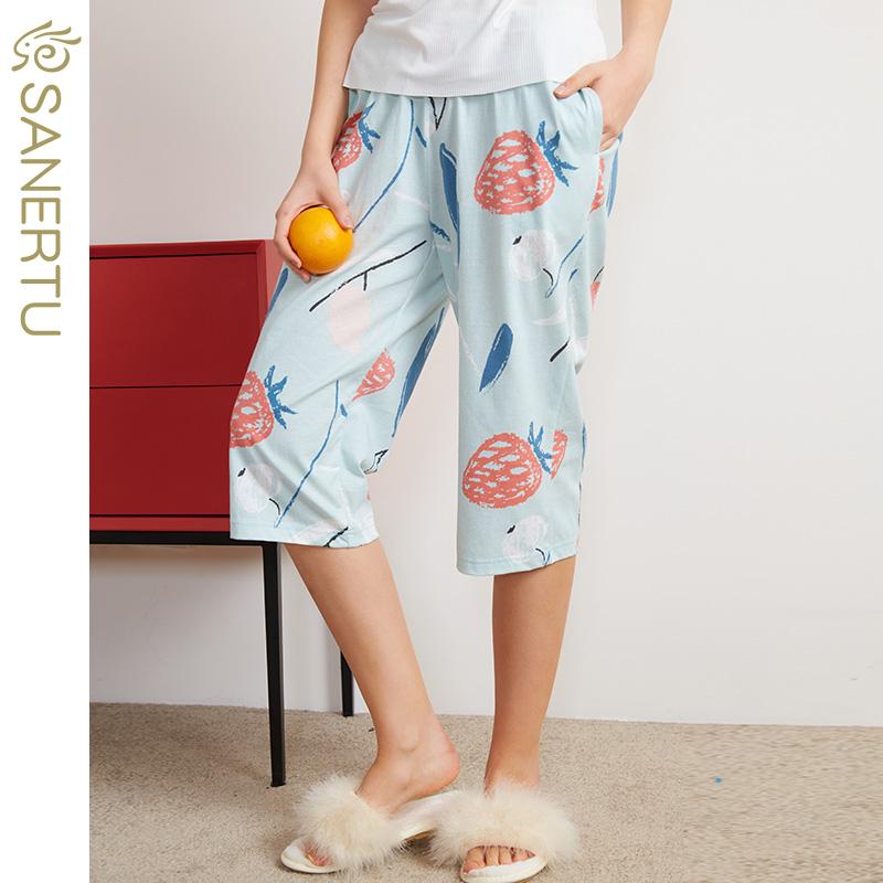 三耳兔睡裤女夏季纯棉薄款七分裤女士大码宽松家居裤子可