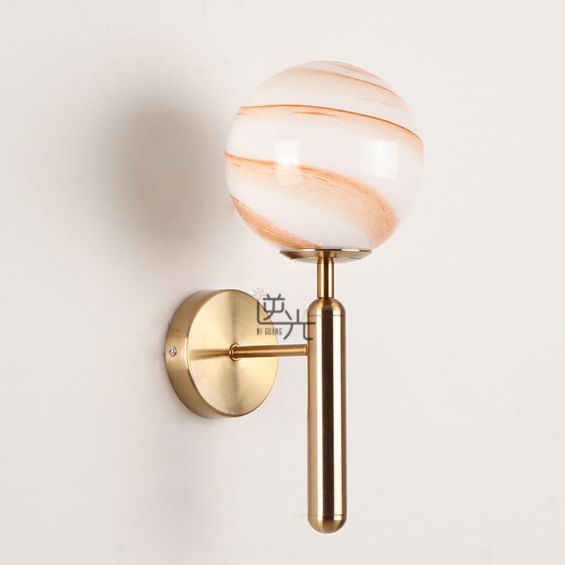 北欧风格现代简约客厅卧室床头轻奢创意设计师款水纹玻璃圆球壁灯