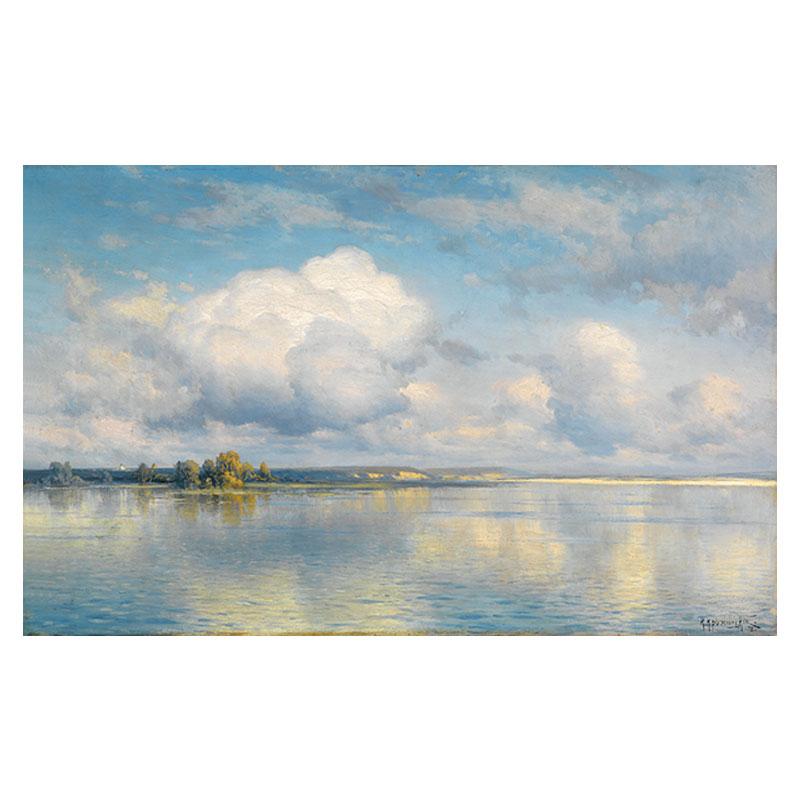 康斯坦丁云淡風輕藍天白云大海風景名畫高清印制油畫布畫芯裝飾畫